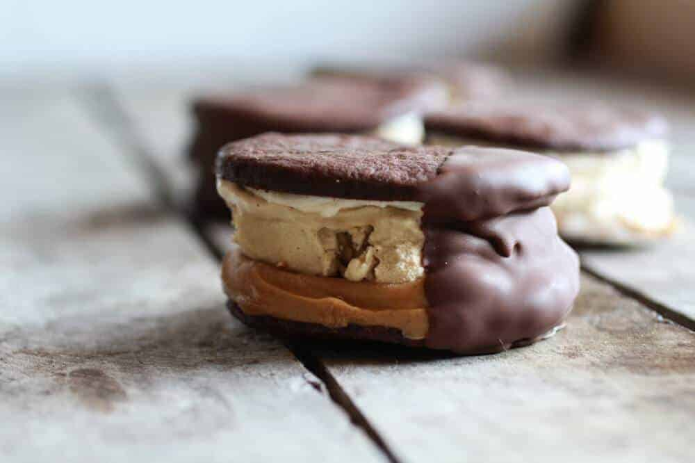 Chocolate Dipped Homemade Peanut Butter Oreo Mocha Ice Cream Sandwiches | halfbakedharvest.com