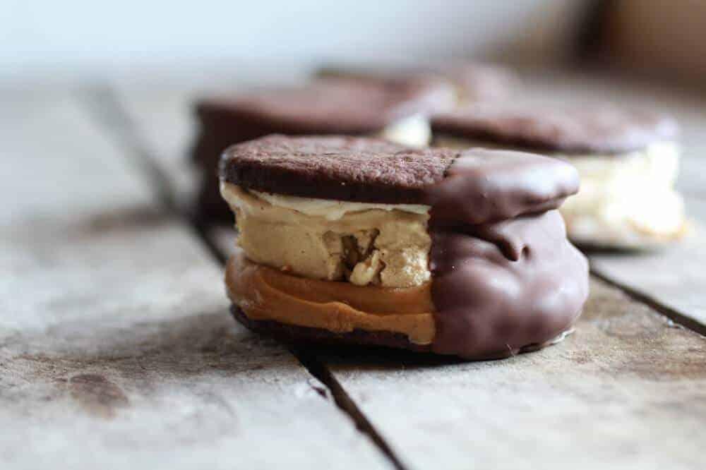 Chocolate Dipped Homemade Peanut Butter Oreo Mocha Ice Cream Sandwiches | halfbakedharvest.com