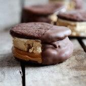 Chocolate Dipped Homemade Peanut Butter Oreo Mocha Ice Cream Sandwiches-7