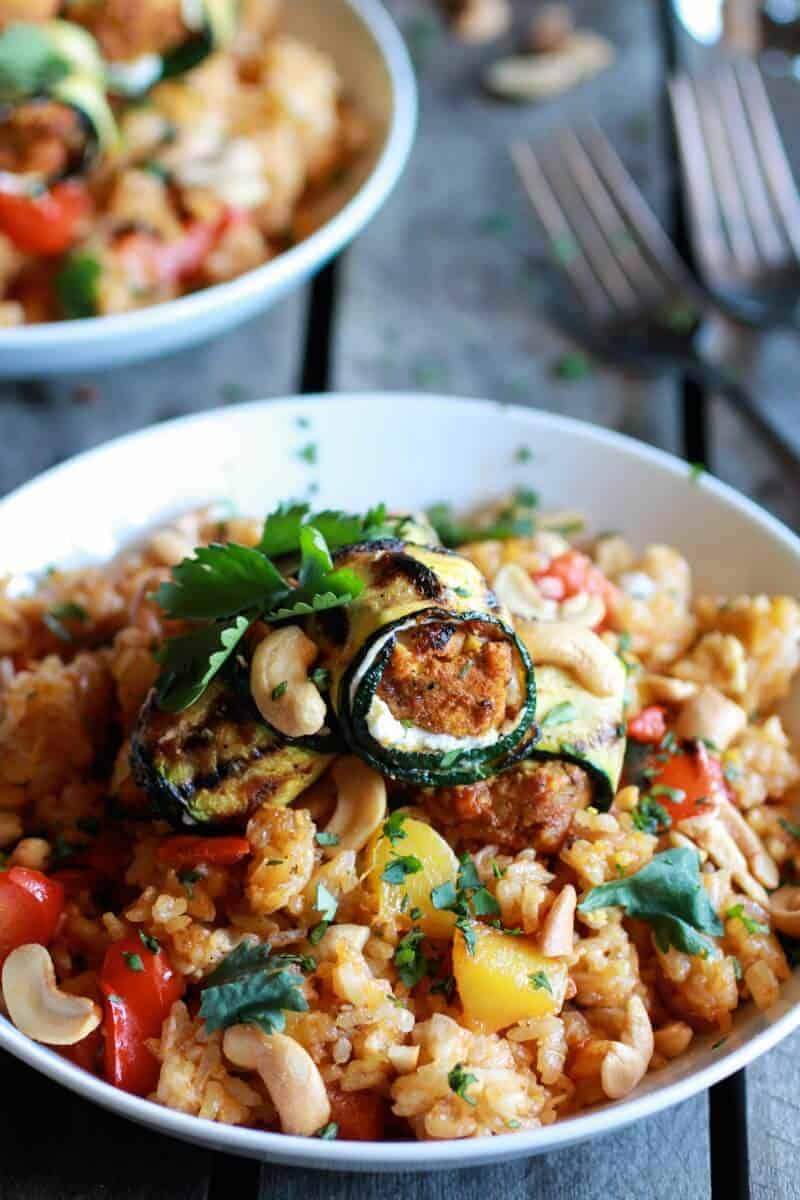 Curried Zucchini, Chicken and Goat Cheese Rolls with Cashew Mango Fried Rice | halfbakedharvest.com