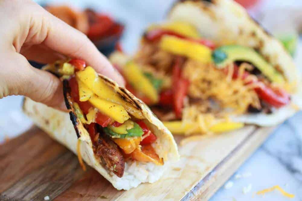 Easy Chicken Fajitas with Thai Mango Slaw and Coconut Rice - Half ...