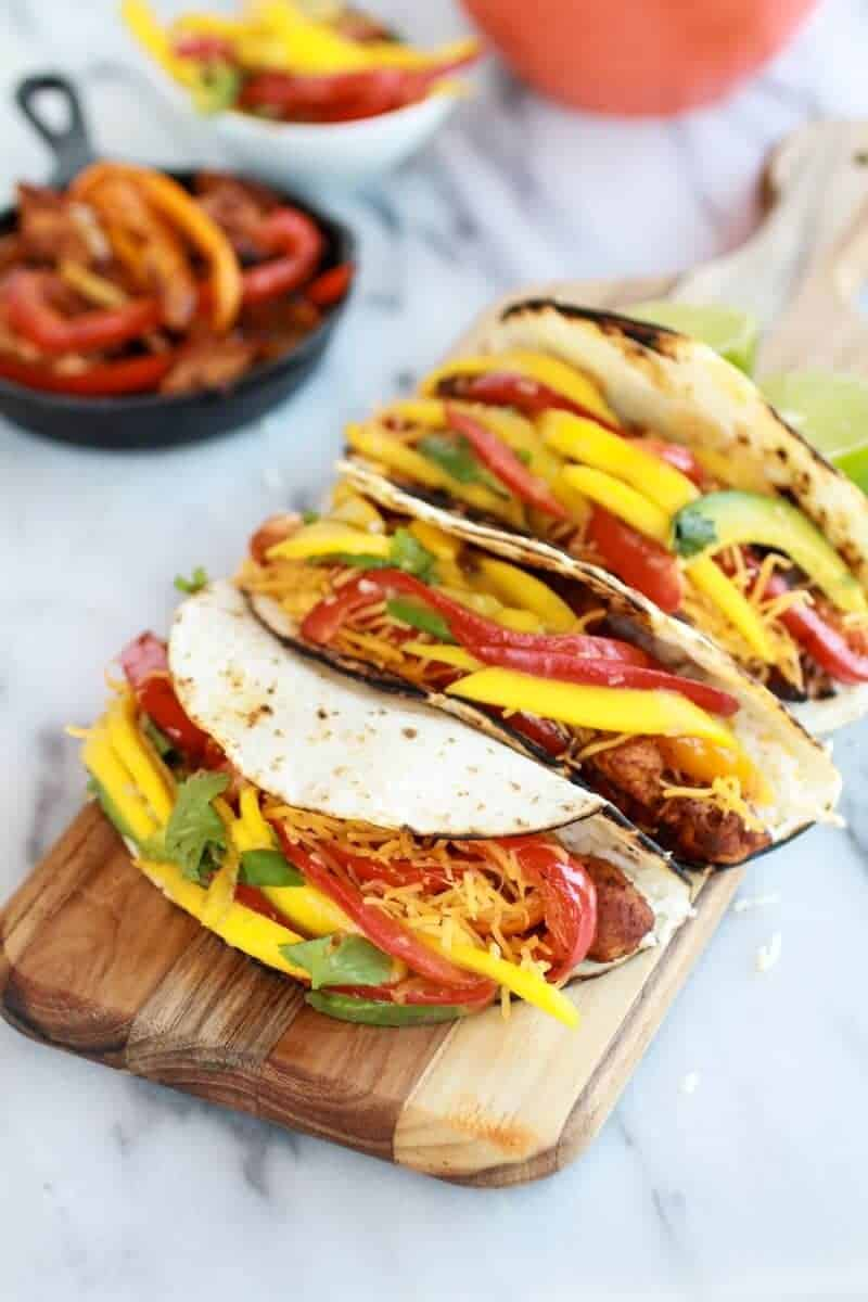Easy Chicken Fajitas with Thai Mango Slaw and Coconut Rice | halfbakedharvest.com/