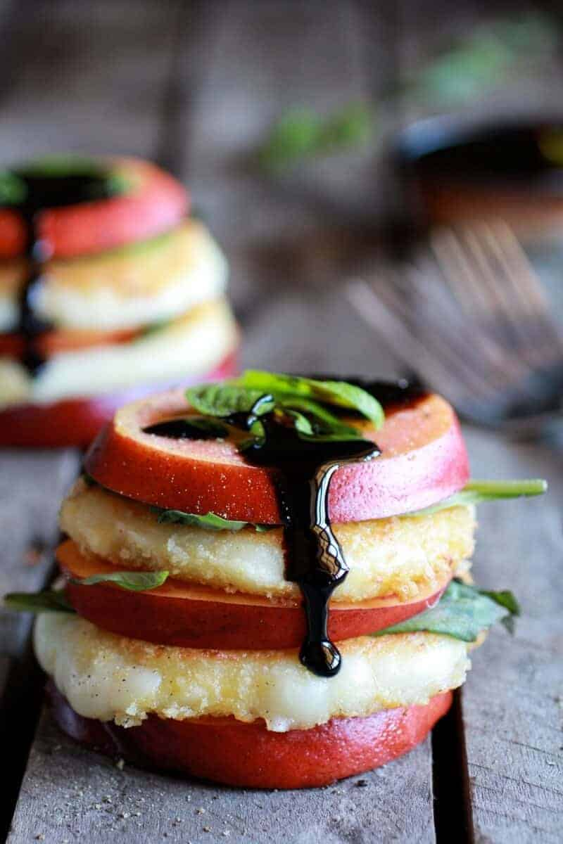 Fried Mozzarella, Basil and Nectarine Stacks with Balsamic Glaze | .halfbakedharvest.com