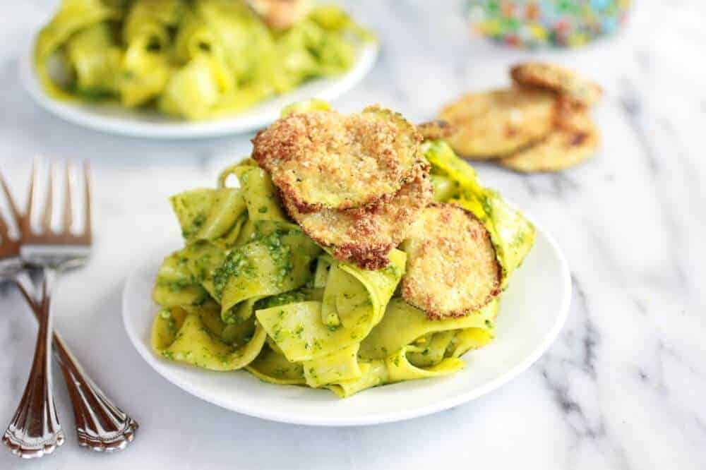 Fried Zucchini and Mint Pistachio Pesto Pappardelle Pasta