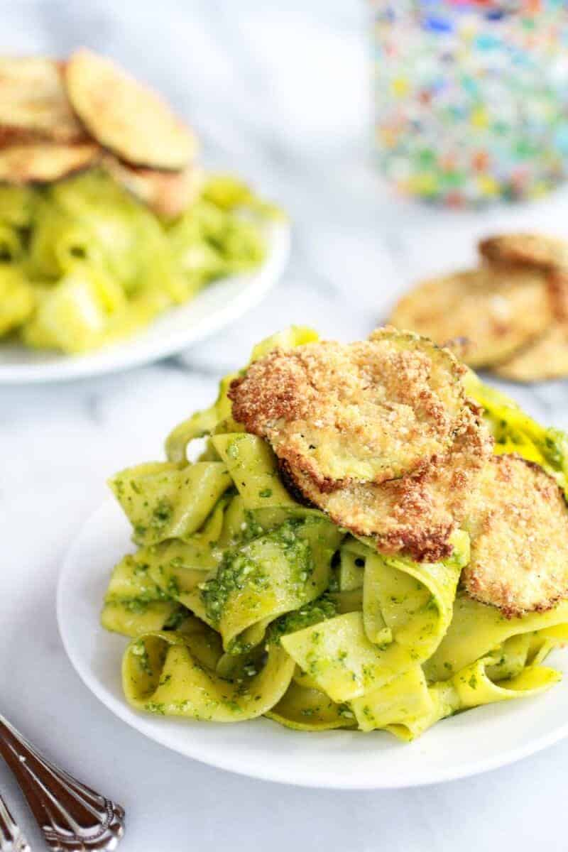 Fried Zucchini + Mint and Pistachio Pesto Pappardelle Pasta | halfbakedharvest.com
