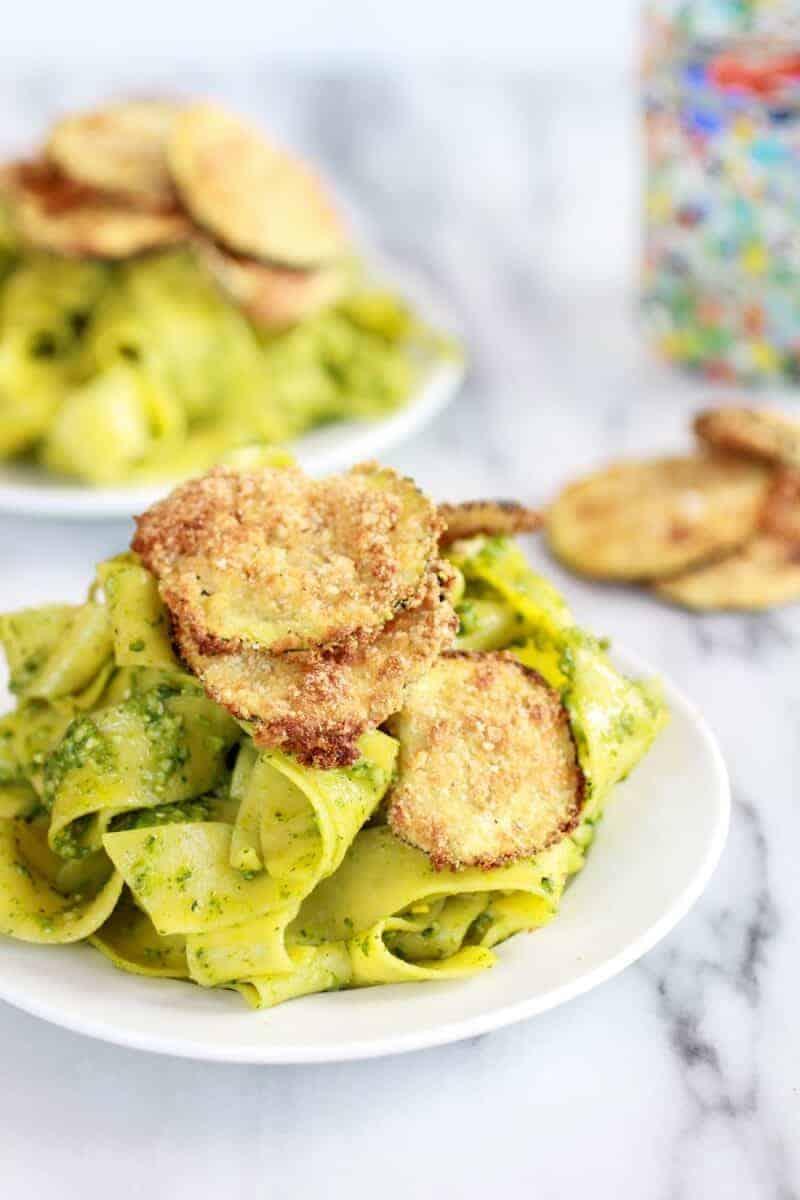 Fried Zucchini + Mint and Pistachio Pesto Pappardelle Pasta | halfbakedharvest.com