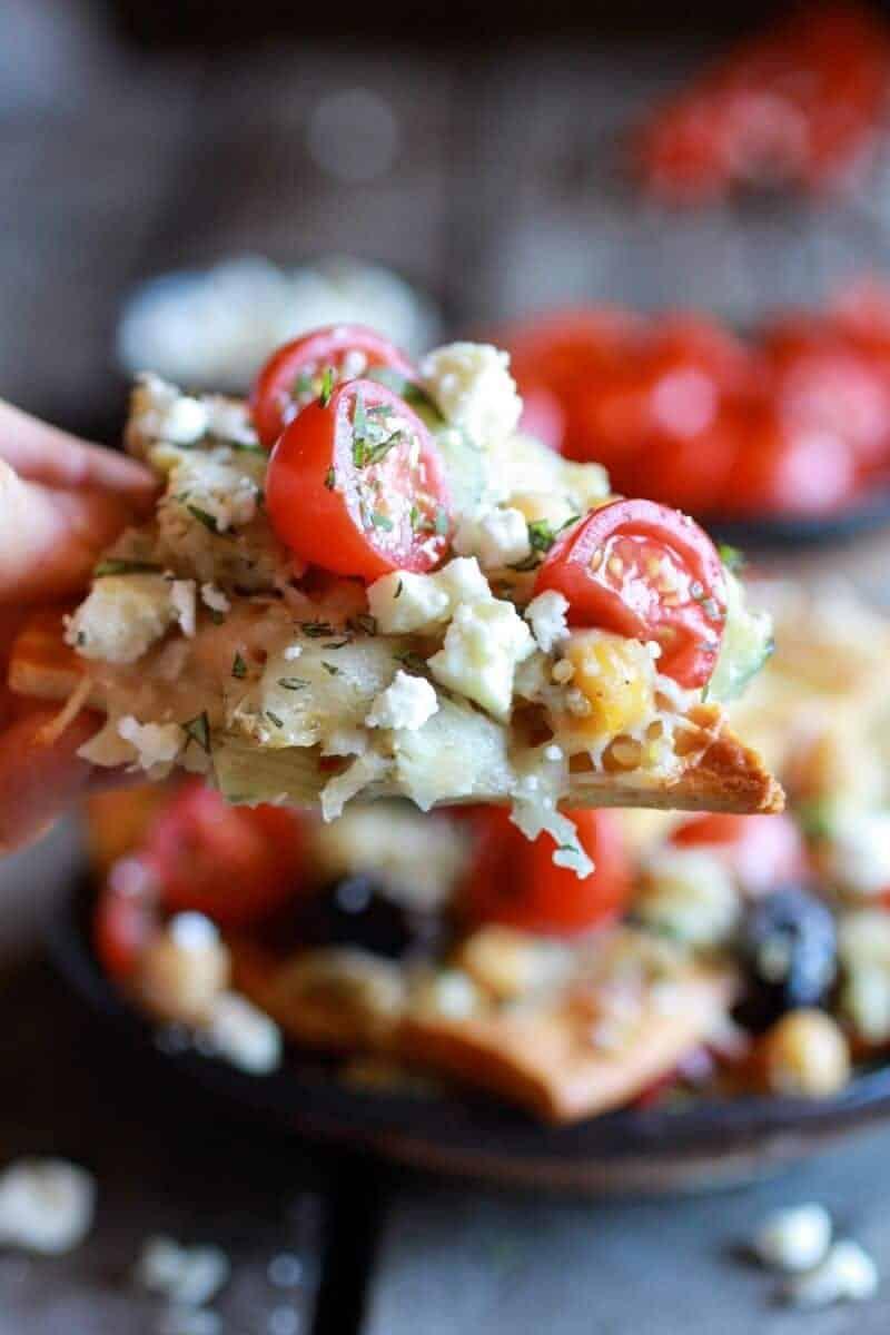 Loaded Greek Goddess Chickpea and Quinoa Pita Chip Nachos | halfbakedharvest.com