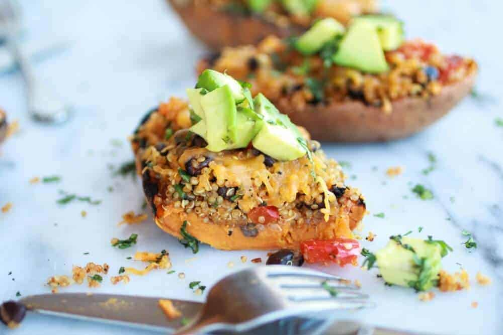 Grilled Tex-Mex Quinoa Stuffed Sweet Potatoes Skins || halfbakedharvest.com