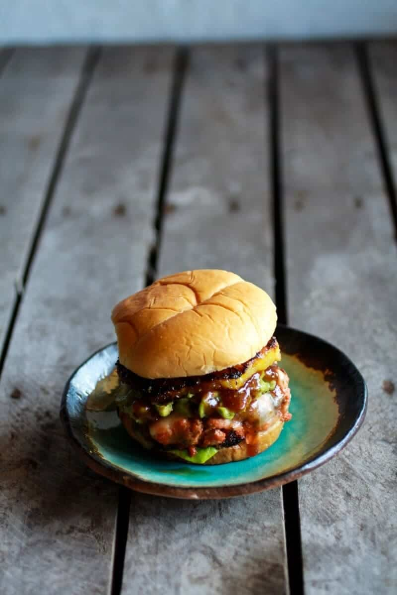Hawaiian BBQ Salmon Burgers with Coconut Caramelized Pineapple | halfbakedharvest.com