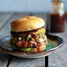 Hawaiian BBQ Salmon Burgers with Coconut Caramelized Pineapple
