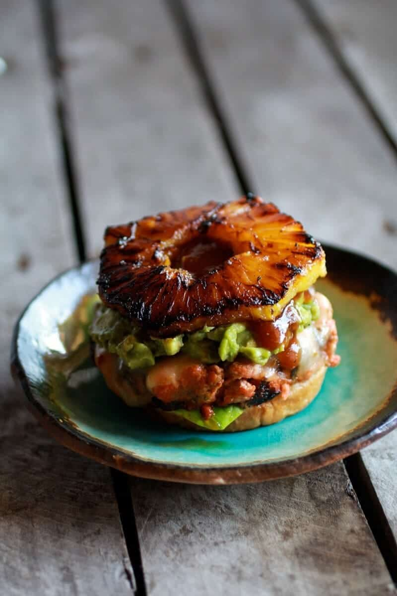 Hawaiian BBQ Salmon Burgers with Coconut Caramelized Pineapple | halfbakedharvest.com