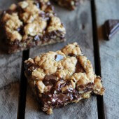 Healthy Dark Chocolate Chunk Oatmeal Cookie Bars (Idiot Proof)-3