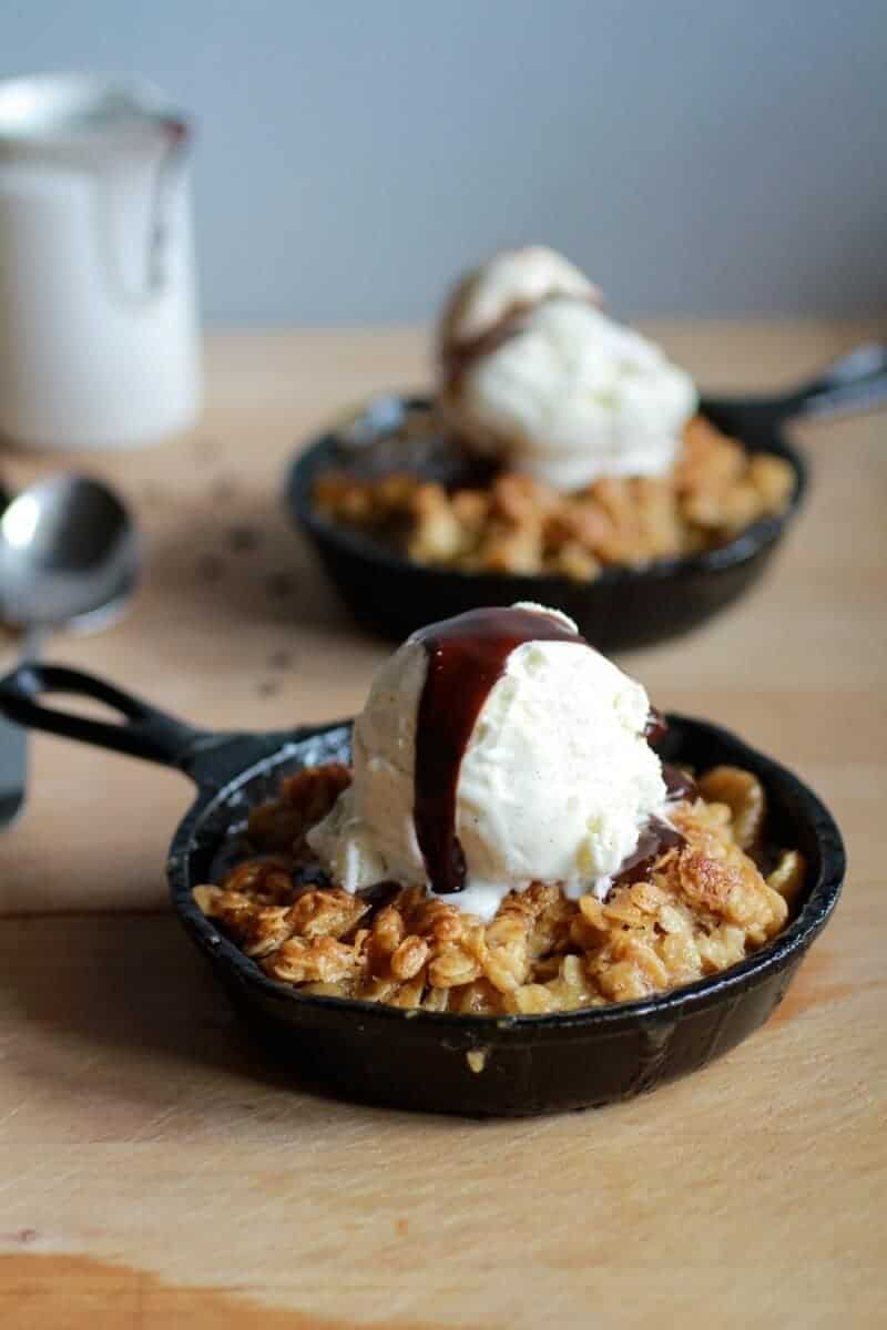 Oatmeal Cookie Banana Crisp with Chocolate Kahlua Sauce | halfbakedharvest.com