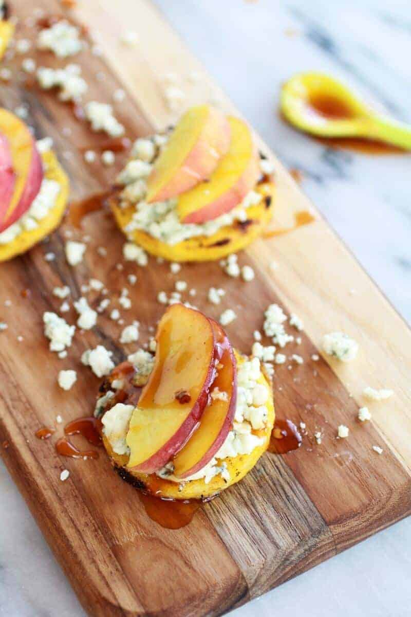 Peach and Gorgonzola Grilled Polenta Rounds with Chipotle Honey   .halfbakedharvest.com