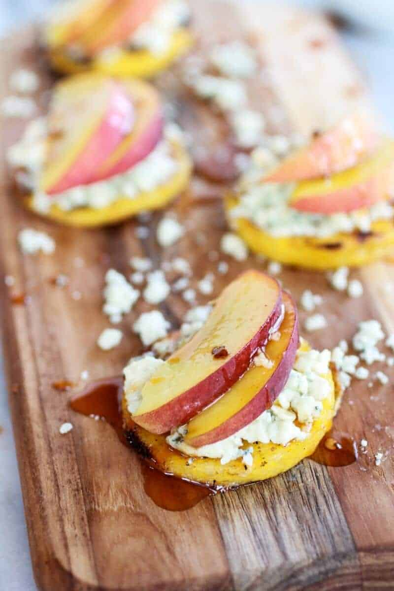 Peach and Gorgonzola Grilled Polenta Rounds with Chipotle Honey | .halfbakedharvest.com