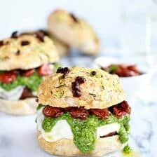 Pesto Portobello Mushroom, or Chicken, Burgers with Marinated Roasted Tomatoes