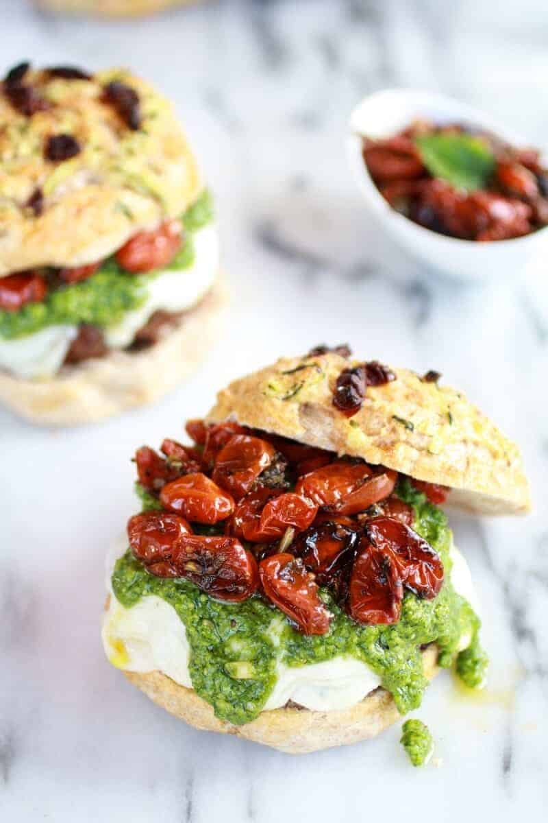 Pesto Protobella Mushroom or Chicken Burgers with Marinated Roasted Tomatoes | halfbakedharvest.com