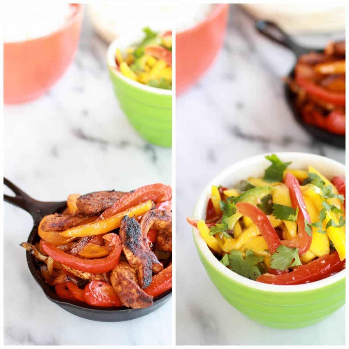 Easy Chicken Fajitas with Thai Mango Slaw and Coconut Rice | halfbakedharvest.com/