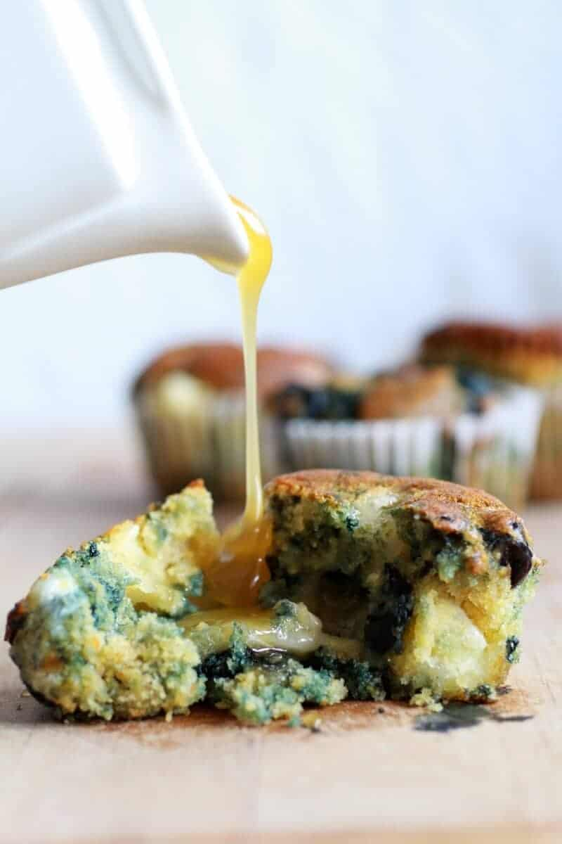 Roasted Blueberry and Brie Cornbread Muffins with Warm Honey Butter | halfbakedharvest.com