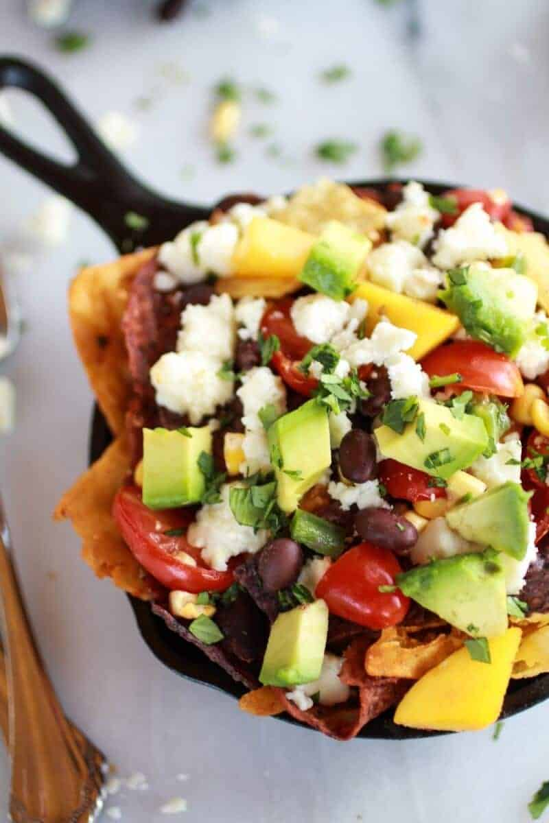Simple Black Bean, Corn and Mango Chilaquiles with Queso Fresco | halfbakedharvest.com