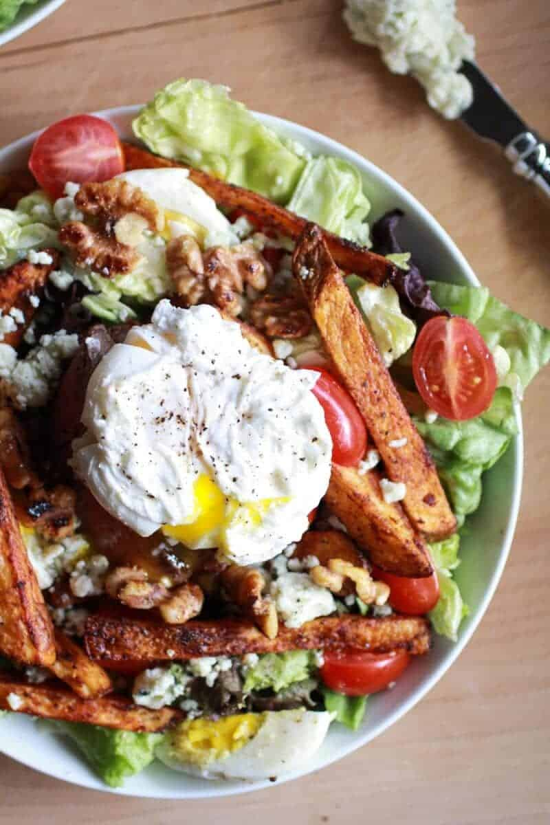Steak and French Fry Salad with Blue Cheese Butter + Poached Eggs | halfbakedharvest.com