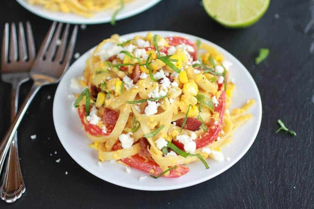 Summer Grilled Mexican Street Corn Fettuccine