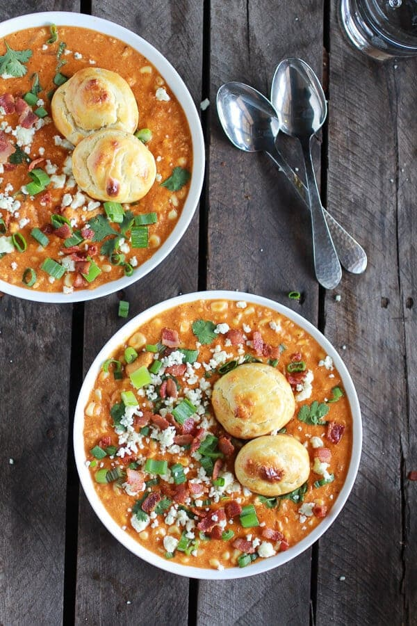 Buffalo Chicken Corn Chowder with Blue Cheese Gougères   halfbakedharvest.com