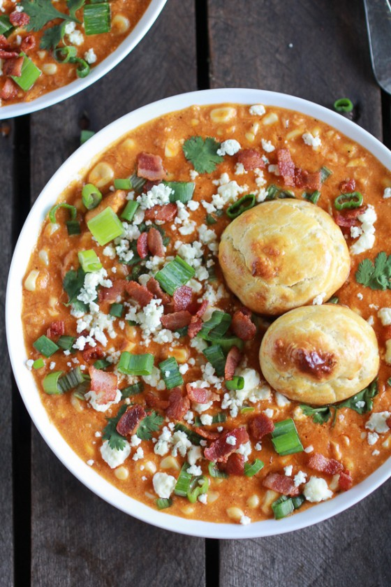 Buffalo Chicken Corn Chowder with Blue Cheese Gougères-11