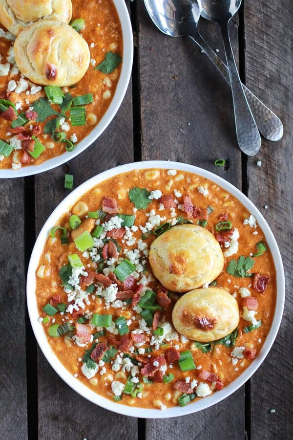 Buffalo Chicken Corn Chowder with Blue Cheese Gougères-6