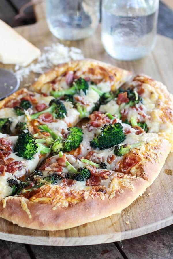 Chipotle Pumpkin Pizza and Broccoli Pizza with Bacon and Gouda Cheese-1