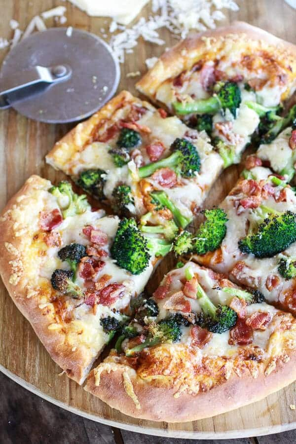 Chipotle Pumpkin and Broccoli Pizza with Bacon + Gouda Cheese (+ A Giveaway!) | halfbakedharvest.com
