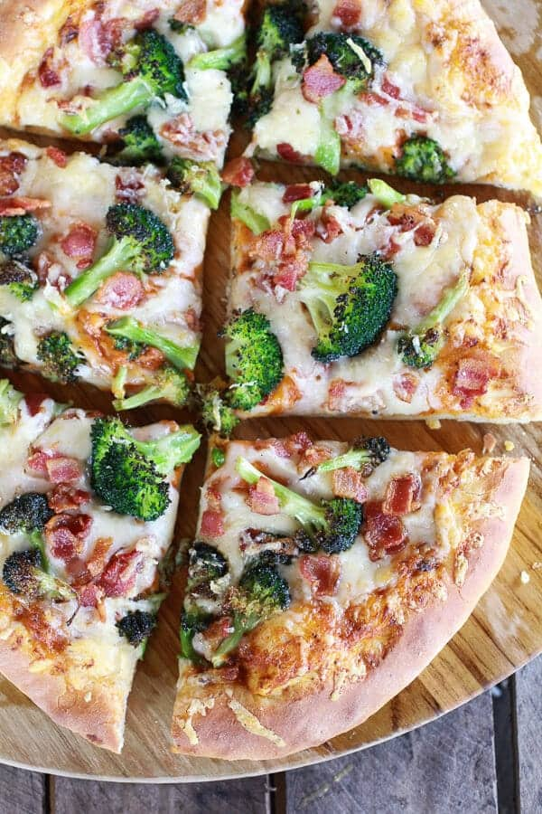 Chipotle Pumpkin Pizza and Broccoli Pizza with Bacon and Gouda Cheese-7