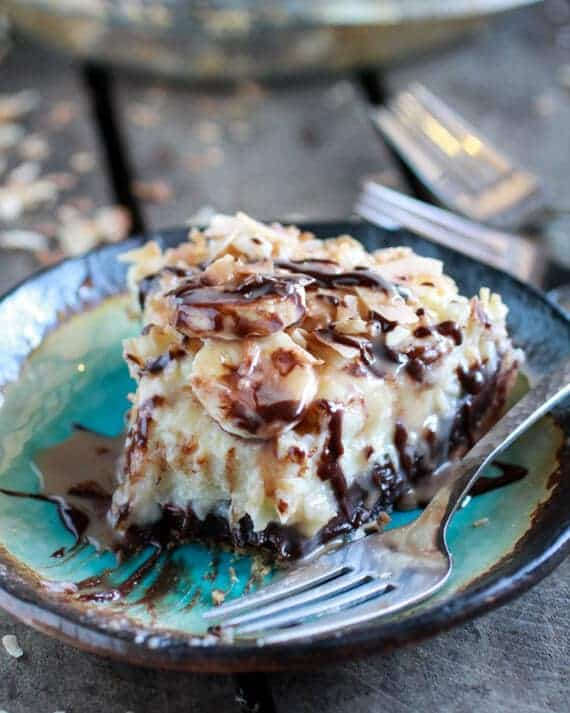 Coconut Banana Cream Chocolate Truffle Pie | halfbakedharvest.com