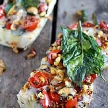 Simple Crispy Basil Caramelized Garden Vegetable + Fontina French Bread Pizza