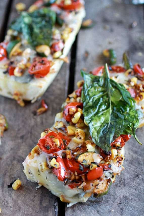 Simple Crispy Basil Caramelized Garden Vegetable + Fontina French Bread Pizza | halfbakedharvest.com