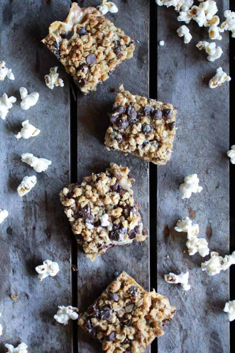 Fudge Brownie, Caramel, Popcorn + Oatmeal Cookie Crumble 7 Layer Bars | halfbakedharvest.com