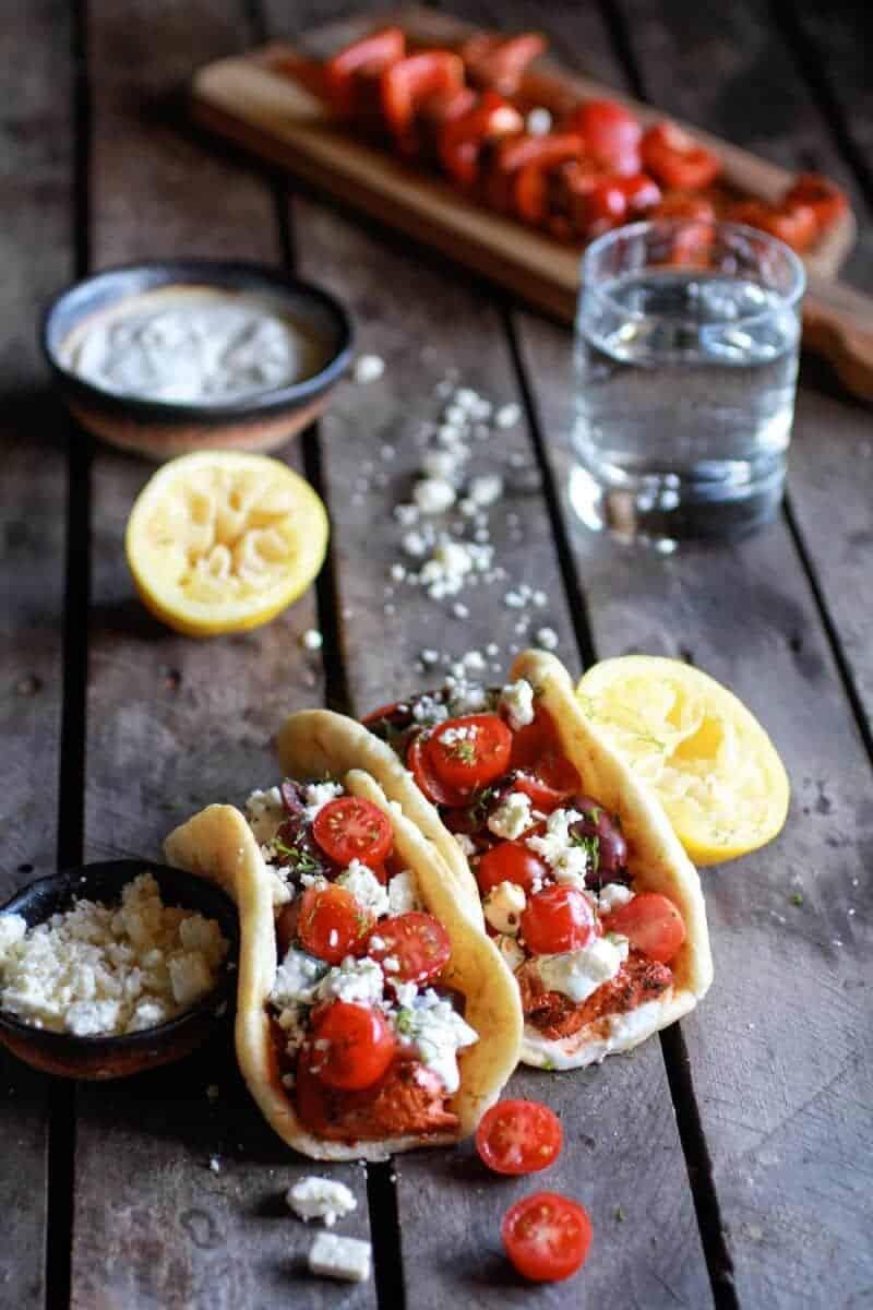 Greek Salmon Souvlaki Gyros with Tzatziki | halfbakedharvest.com
