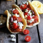 Greek Salmon Souvlaki Gyros with Tzatziki