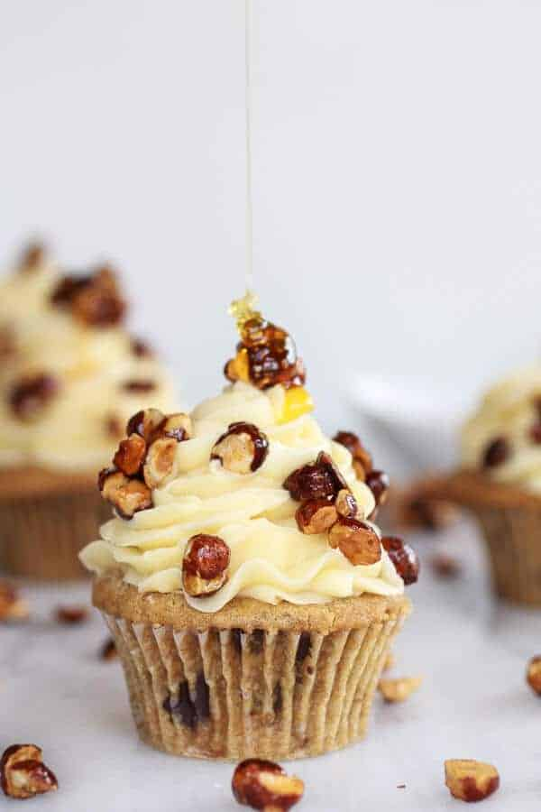 Honey Toasted Hazelnut Chocolate Chunk Cupcakes with Boozy Honey Buttercream Frosting | halfbakedharvest.com