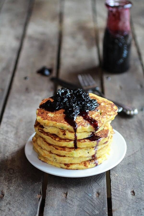 Jalapeño Cheddar Cornbread Pancakes with Roasted Blueberry Honey Syrup | halfbakedharvest.com