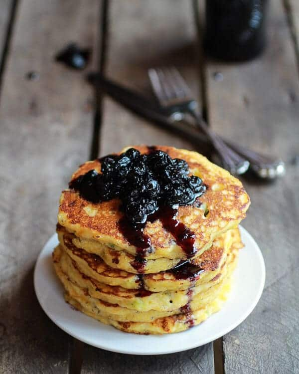 Jalapeño Cheddar Cornbread Pancakes with Roasted Blueberry Honey Syrup | halfbakedharvest.com