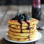Jalapeño Cheddar Cornbread Pancakes with Roasted Blueberry Honey Syrup
