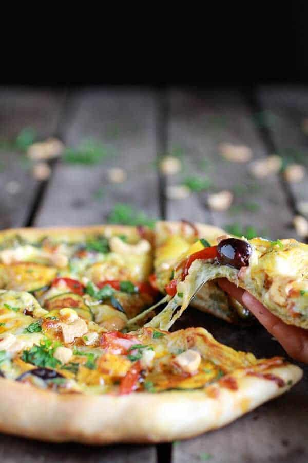 Moroccan Roasted Garlic Pesto and Cashew Pizza   halfbakedharvest.com