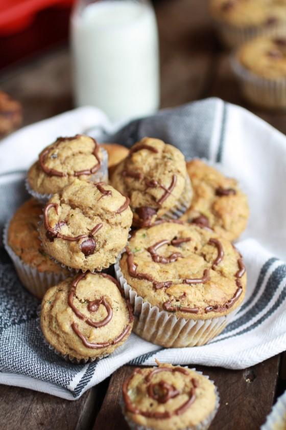 Nutella Stuffed Whole Wheat Peanut Butter Banana and Zucchini Muffins-4