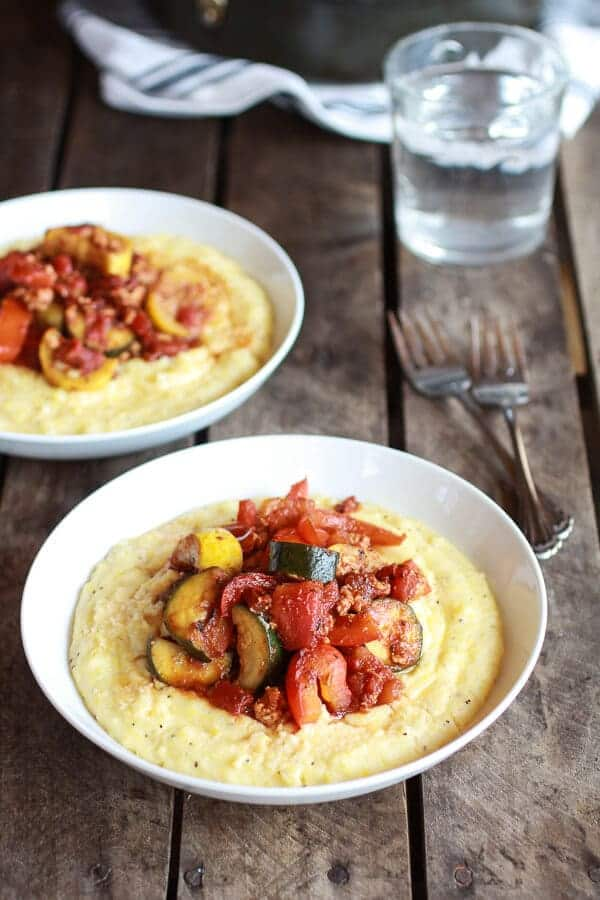 Ratatouille with Spicy Italian Chicken Sausage and Creamy Polenta   halfbakedharvest.com