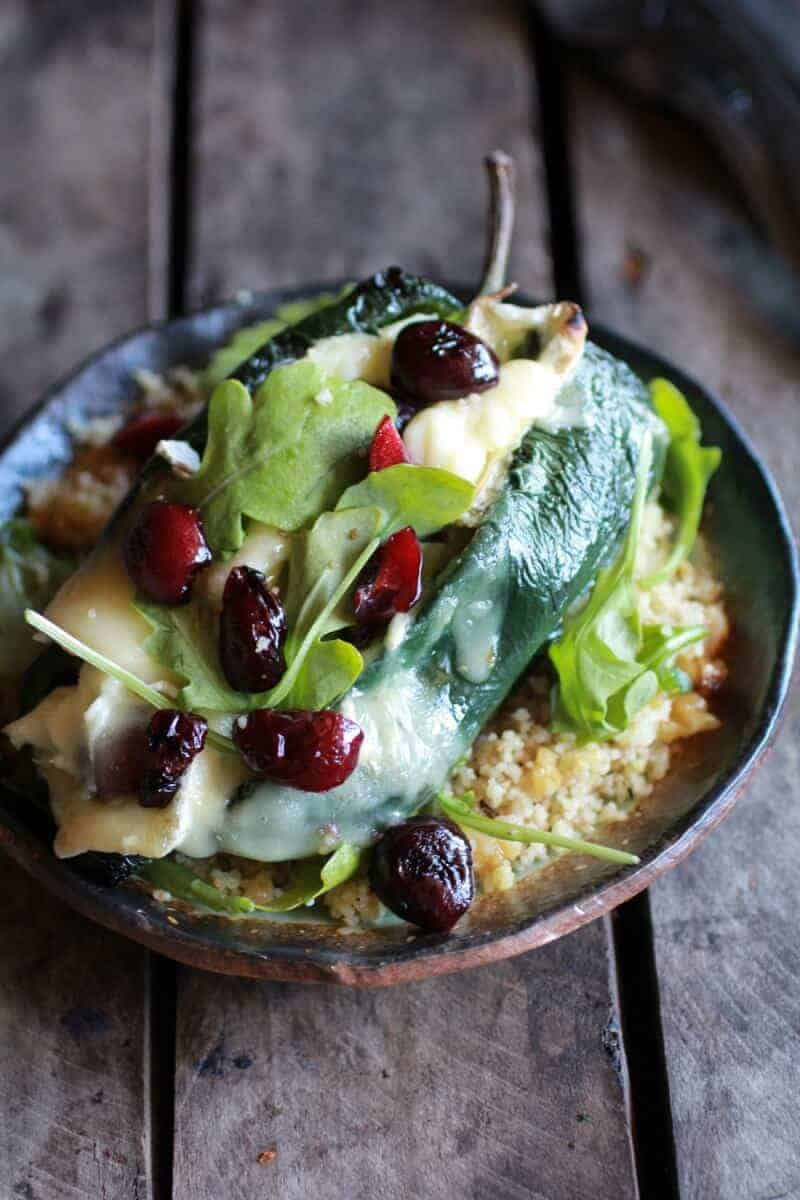 Roasted Cherry, Couscous and Brie stuffed Poblano Peppers | halfbakedharvest.com