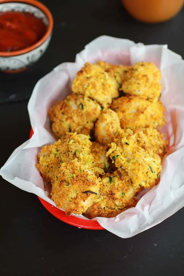 Zucchini Parmesan Crusted Chicken Nuggets