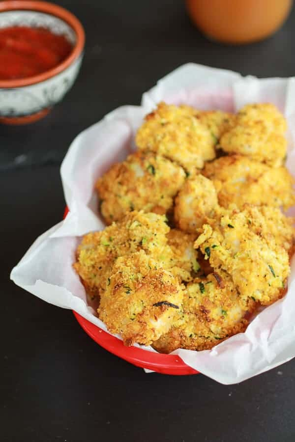 Zucchini Parmesan Crusted Chicken Nuggets | halfbakedharvest.com