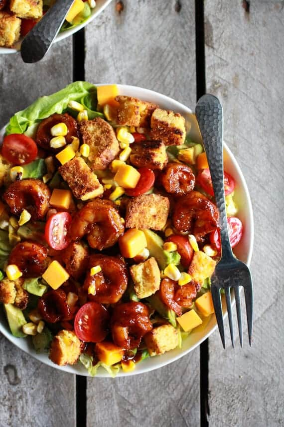 Spicy Beer and Butter Shrimp + Cornbread Panzanella Salad | halfbakedharvest.com