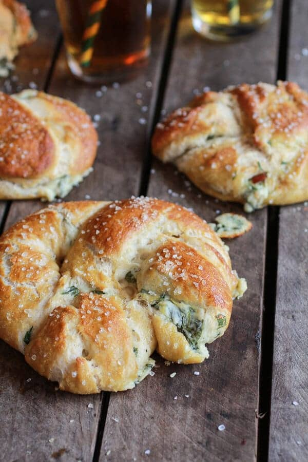 Spinach, Artichoke + Bacon Stuffed Beer Soft Pretzels | halfbakedharvest.com